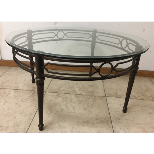 Round Metal Coffee Table with Tempered Glass Top