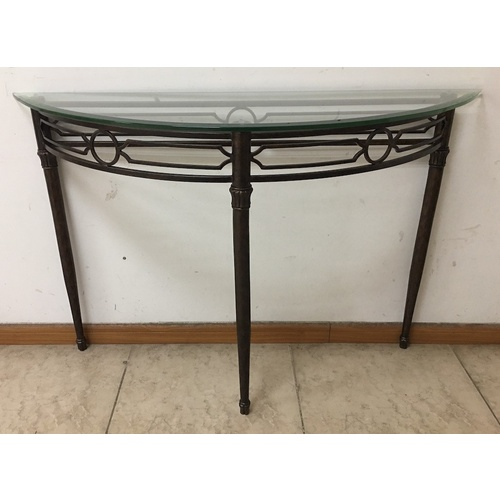 Metal Console Table with Tempered Glass Top
