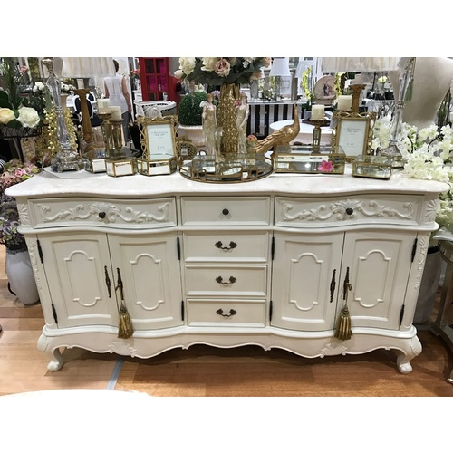 Charlayne French Sideboard with Marble Top in Cream